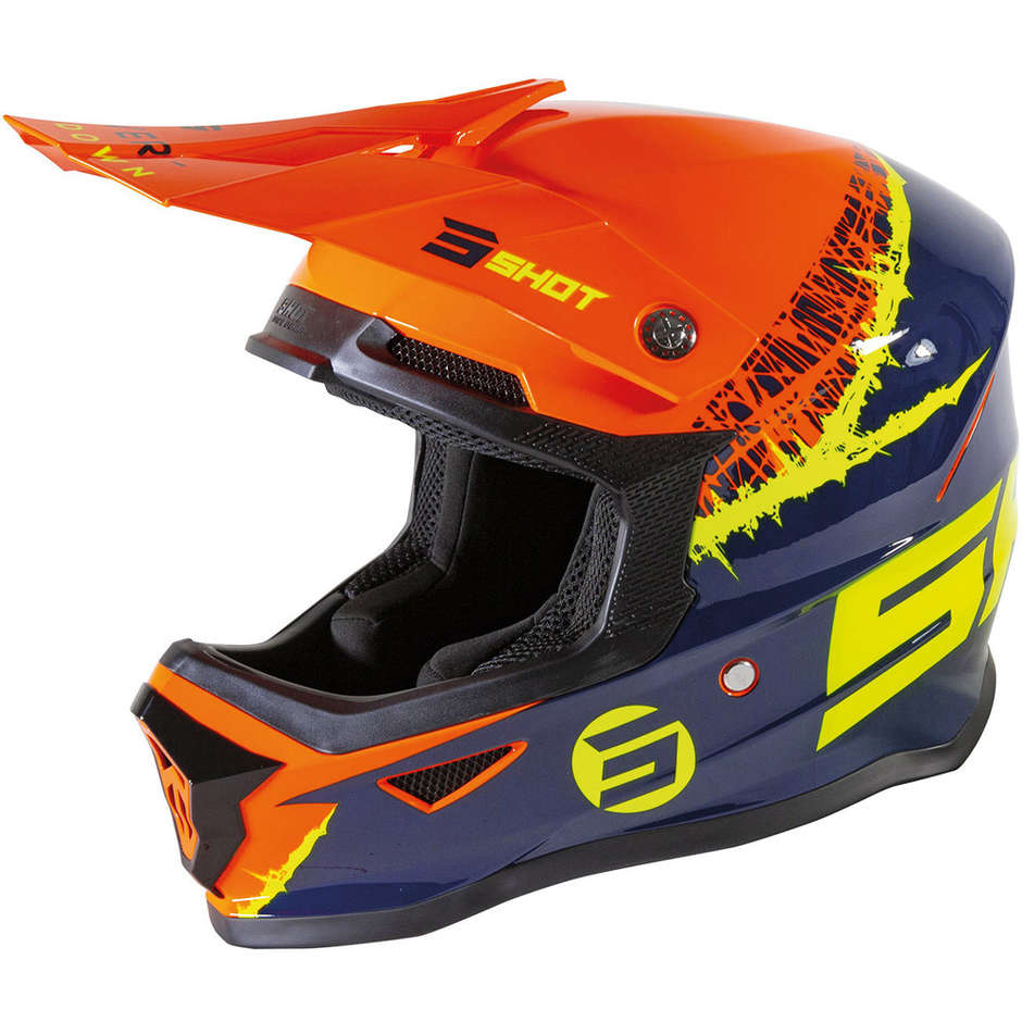 Casque Moto Cross Enduo Enfant Shot Furios Storm Orange Bleu