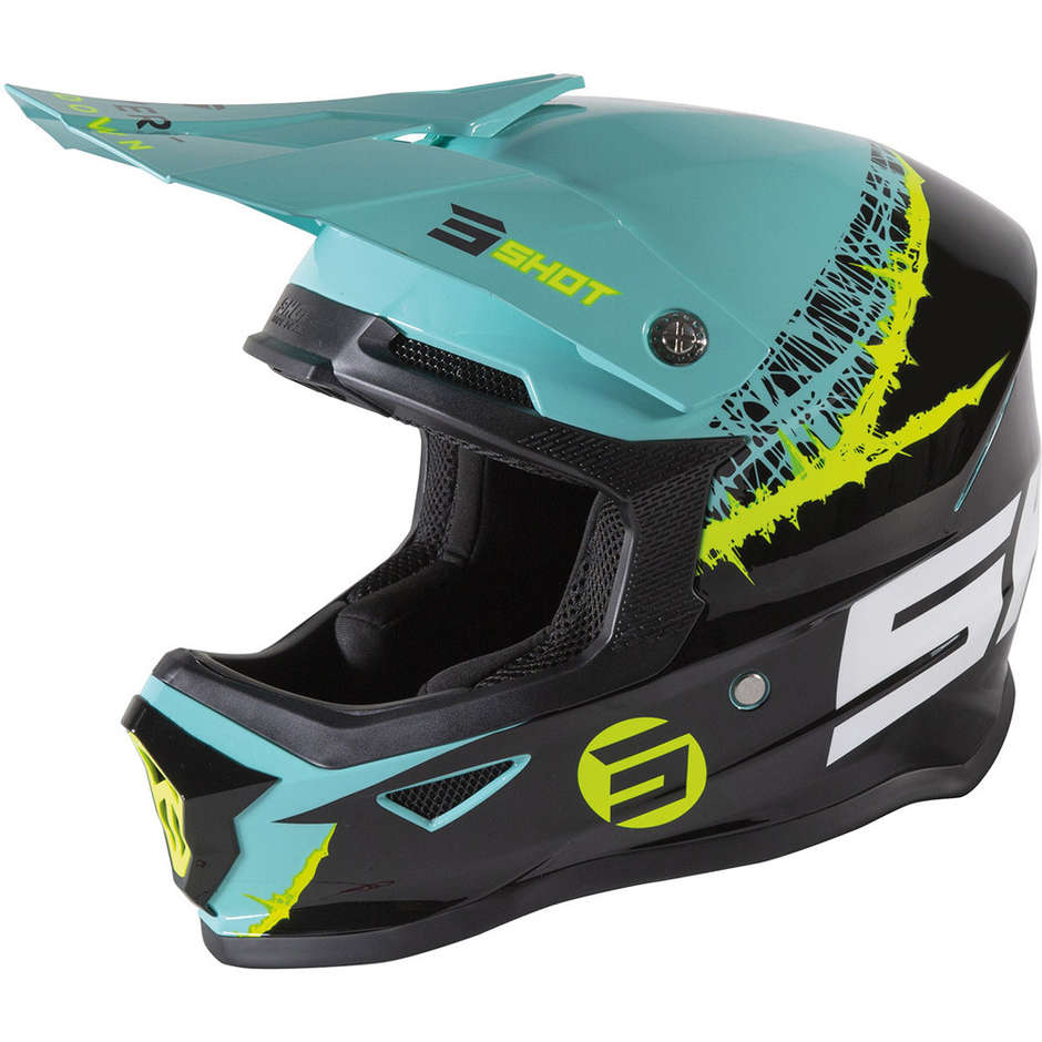 Casque Moto Cross Enduo Shot Furios Enfant Storm Green Jaune Fluo