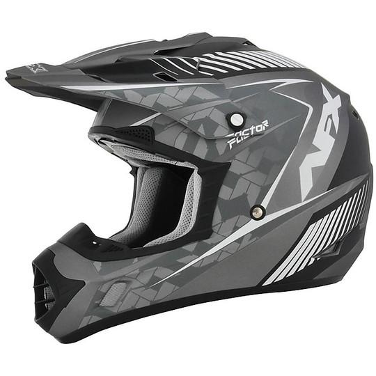 Casque Moto Cross Enduro Afx FX-17 Factor Frost Gris Blanc