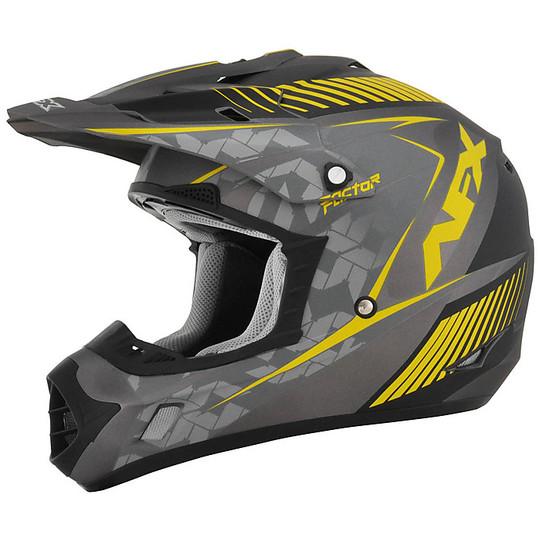 Casque Moto Cross Enduro Afx FX-17 Factor Frost Gris Jaune
