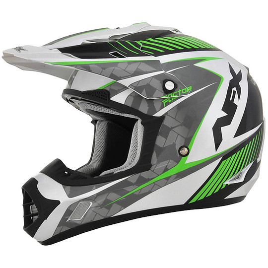 Casque Moto Cross Enduro Afx FX-17 Factor Pearly White Green