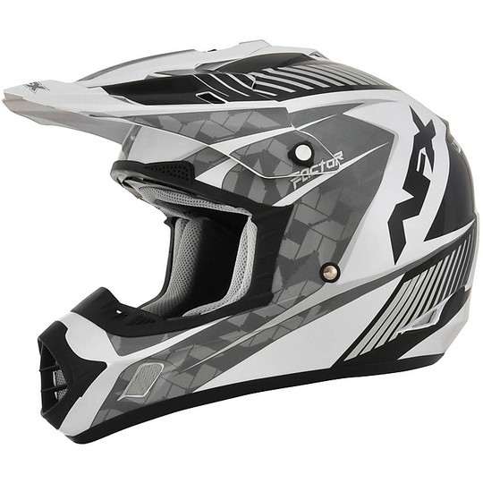 Casque Moto Cross Enduro Afx FX-17 Factor Pearly White Silver