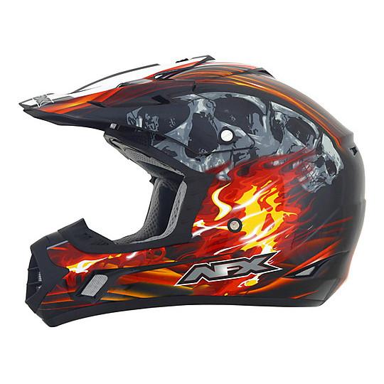 Casque Moto Cross Enduro Afx FX-17 Inferno Noir Rouge