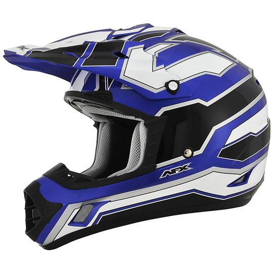 Casque Moto Cross Enduro Afx FX-17 Works Blanc Noir Bleu