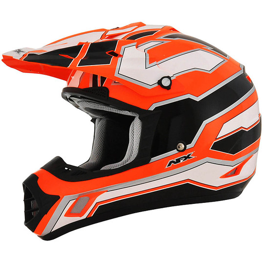 Casque Moto Cross Enduro Afx FX-17 Works Blanc Noir orange