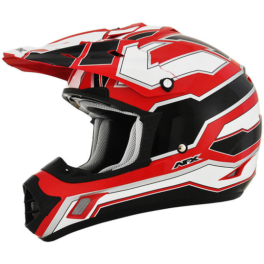 Casque Moto Cross Enduro Afx FX-17 Works Blanc Noir Rouge