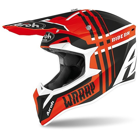 Casque Moto Cross Enduro Airoh WRAAP Broken Matt Orange