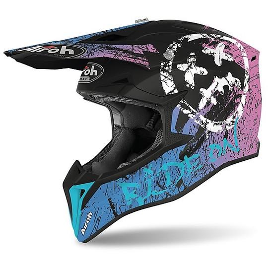 Casque Moto Cross Enduro Airoh WRAAP Smile Matt Purple