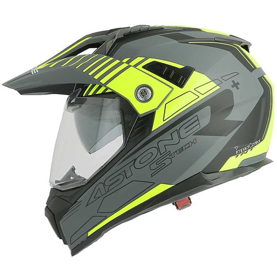 Casque Moto Cross Enduro Astone Crossmax S-Tech Gris Mat Jaune