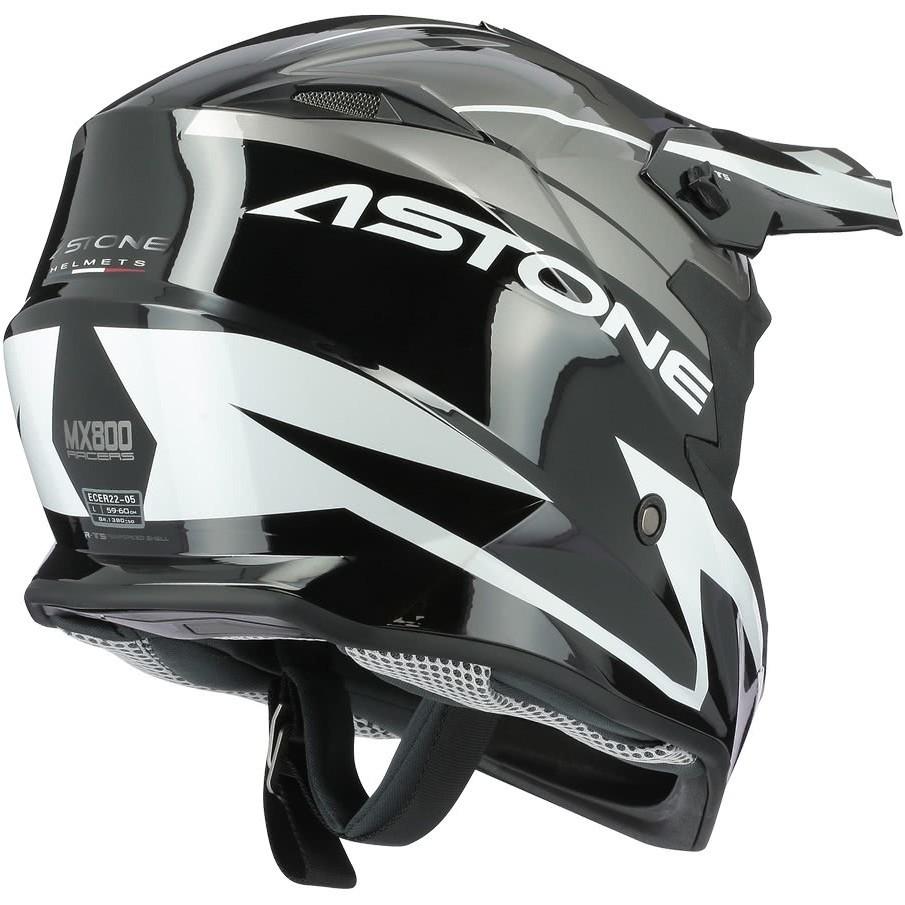 Casque Moto Cross-Enduro Astone MX800 RACERS Gris Blanc