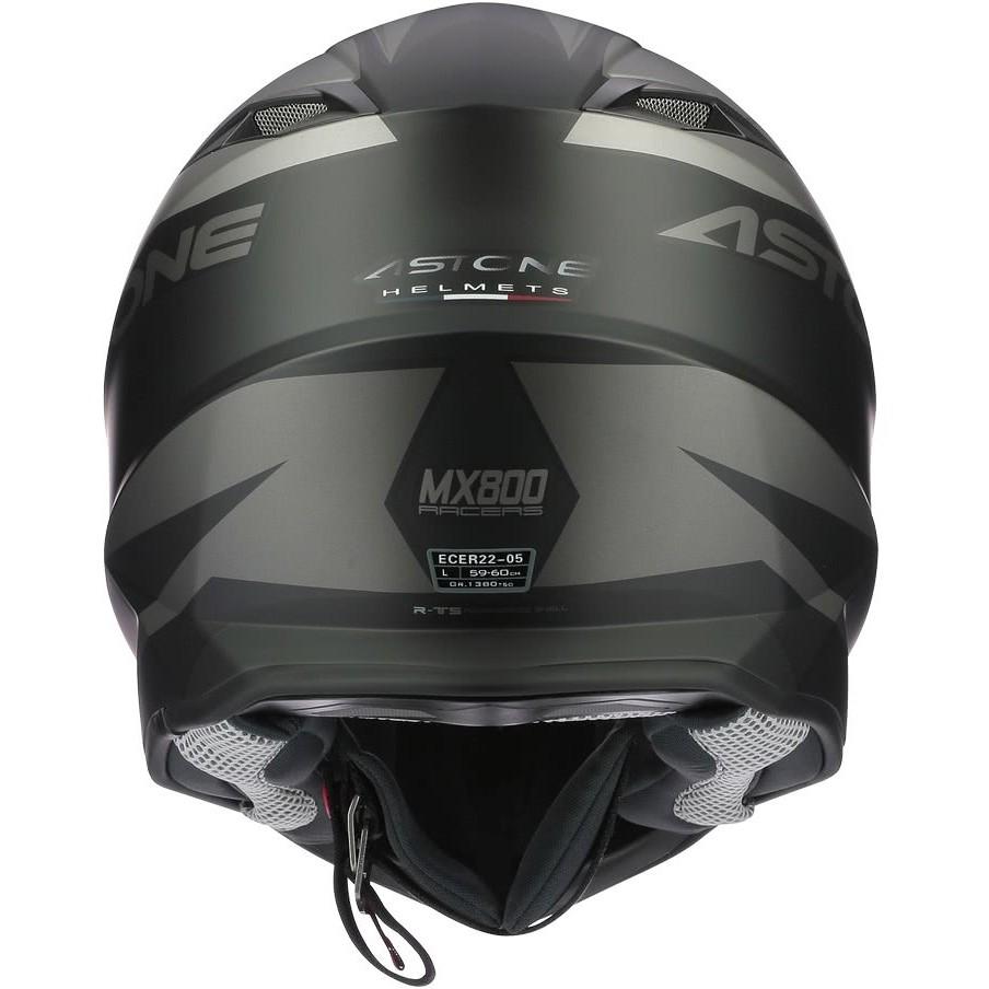 Casque Moto Cross-Enduro Astone MX800 RACERS Gris Noir Mat