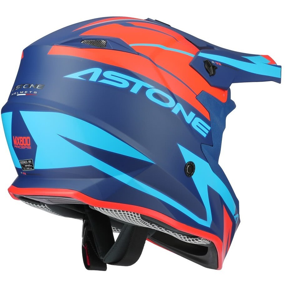 Casque Moto Cross-Enduro Astone MX800 RACERS Orange Bleu Opaque