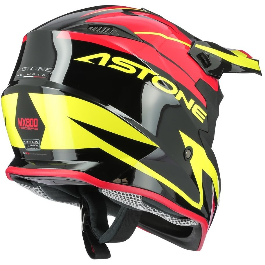 Casque Moto Cross-Enduro Astone MX800 RACERS Rouge Jaune Fluo