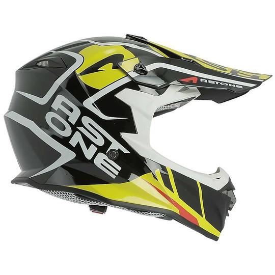 Casque Moto Cross Enduro Astone MX800 Trophy Noir Jaune