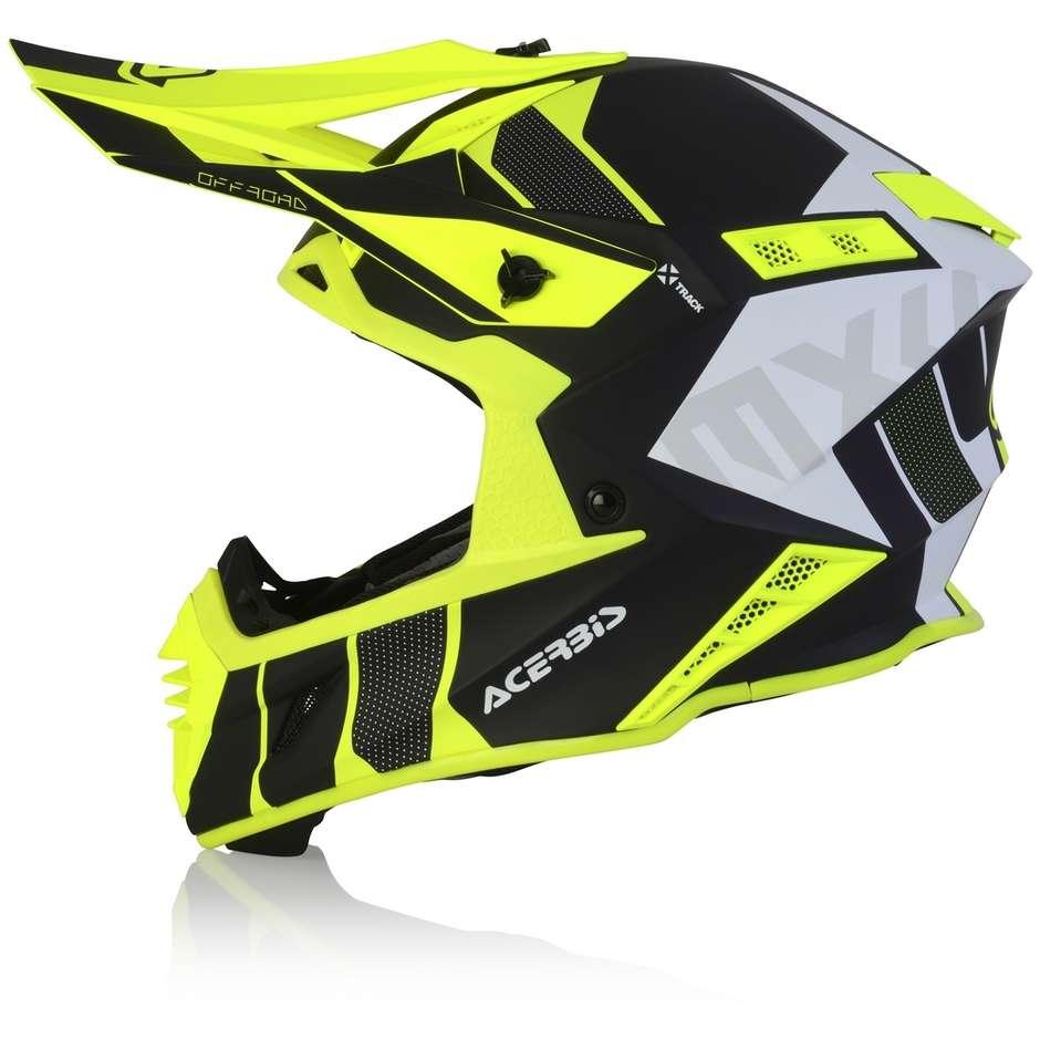 Casque Moto Cross Enduro En Acerbis X-TRACK VTR Fibre Noir Jaune Fluo