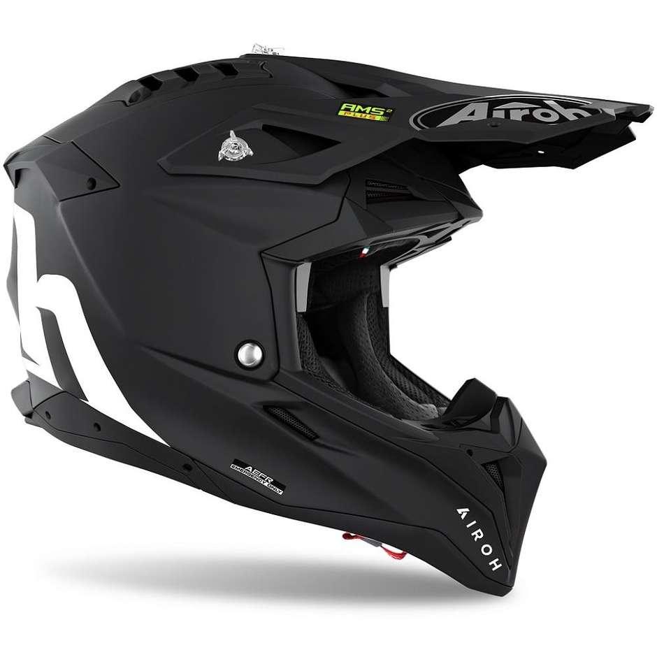 Casque Moto Cross Enduro En Fibre HPC Airoh AVIATOR 3 Couleur Noir Mat