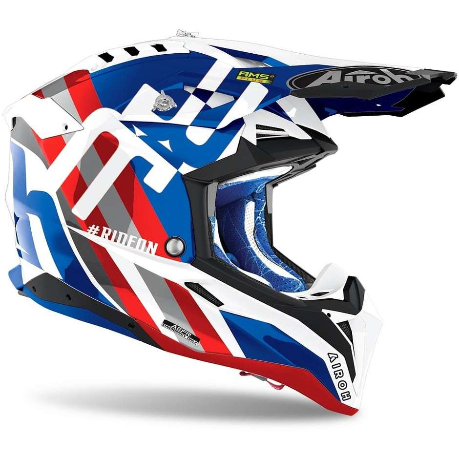 Casque Moto Cross Enduro En Fibre HPC Airoh AVIATOR 3 Rainbow Bleu Rouge
