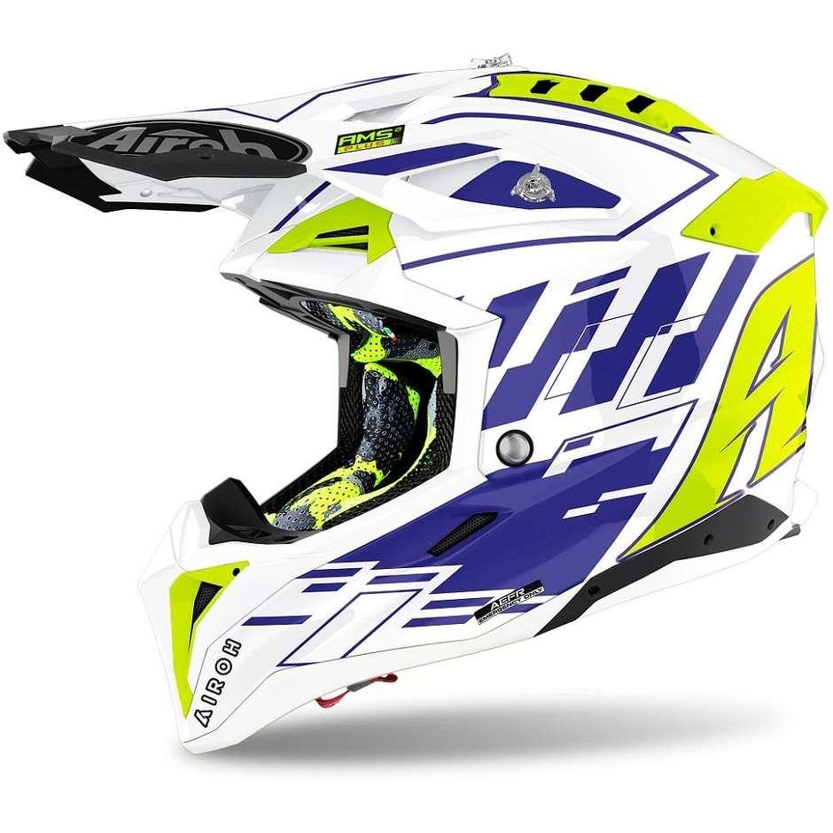 Casque Moto Cross Enduro En Fibre HPC Airoh AVIATOR 3 Rampage Glossy Blue