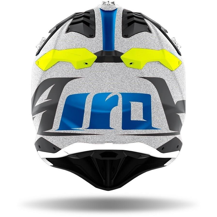 Casque Moto Cross Enduro En Fibre HPC Airoh AVIATOR 3 Wave Glossy Grey Chrome