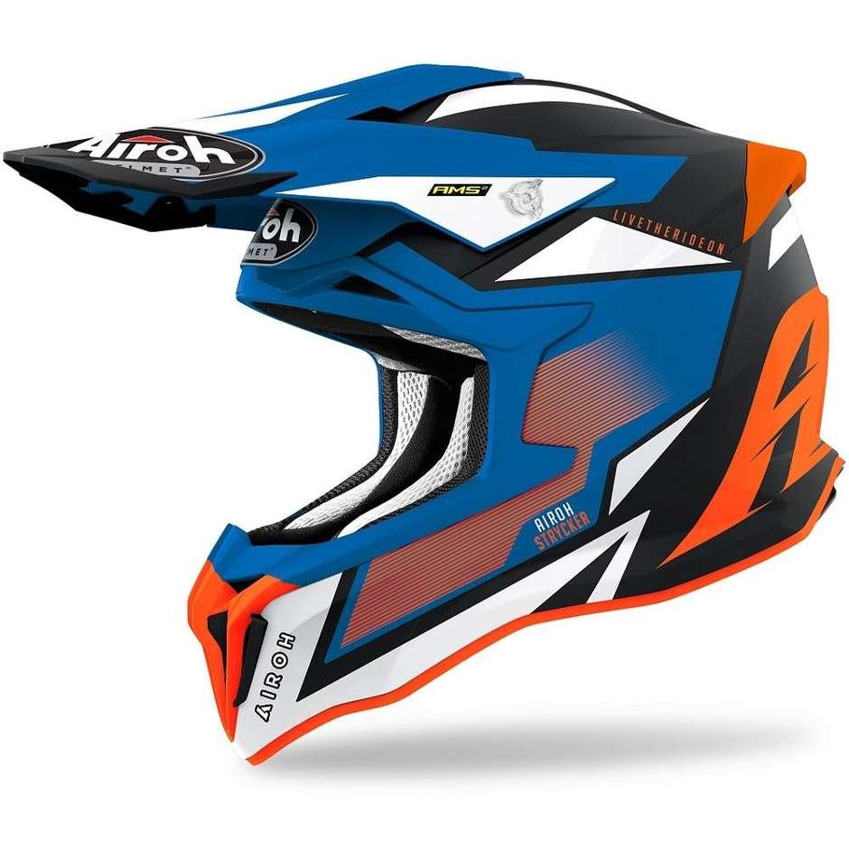 Casque Moto Cross Enduro En Fibre HPC Airoh STRYCKER Axe Orange Bleu Opaque