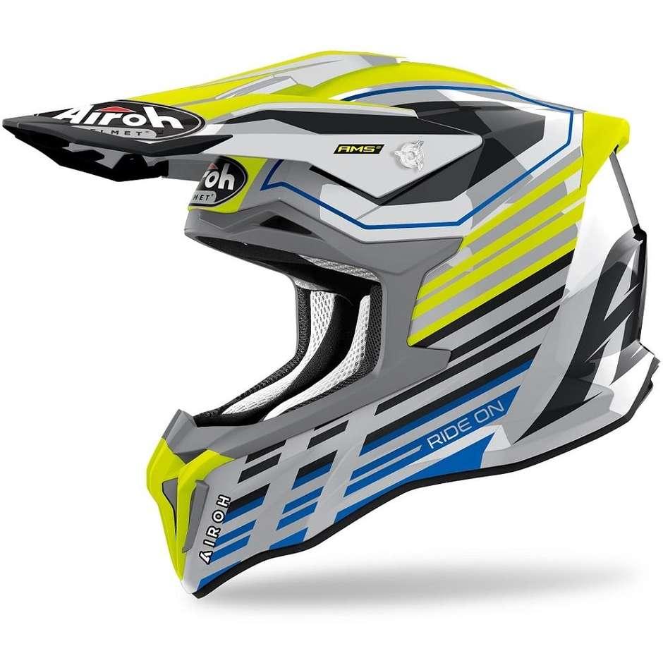 Casque Moto Cross Enduro En Fibre HPC Airoh STRYCKER Shaded Glossy Yellow