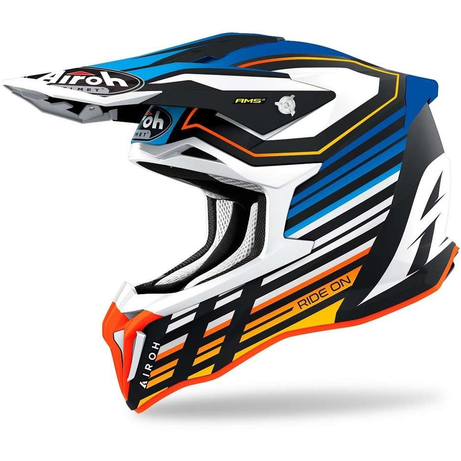 Casque Moto Cross Enduro En Fibre HPC Airoh STRYCKER Shaded Matt Blue