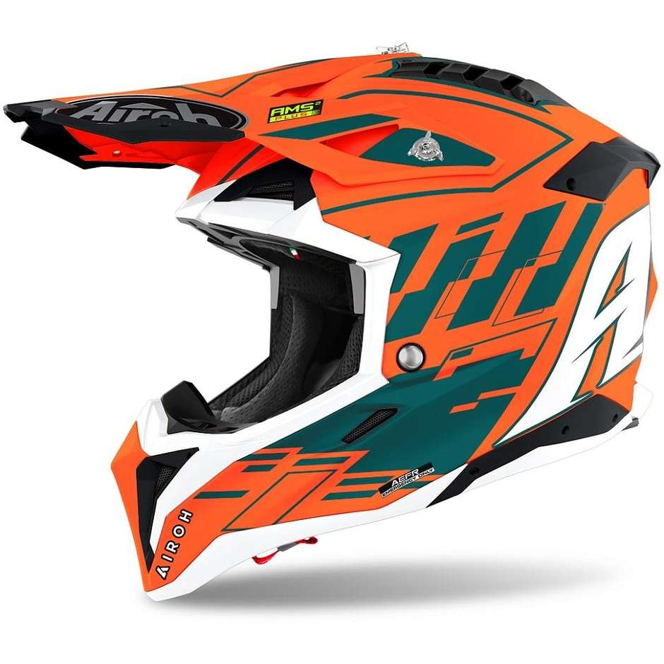 Casque Moto Cross Enduro En HPC Airoh Fibre AVIATOR 3 Rampage Orange