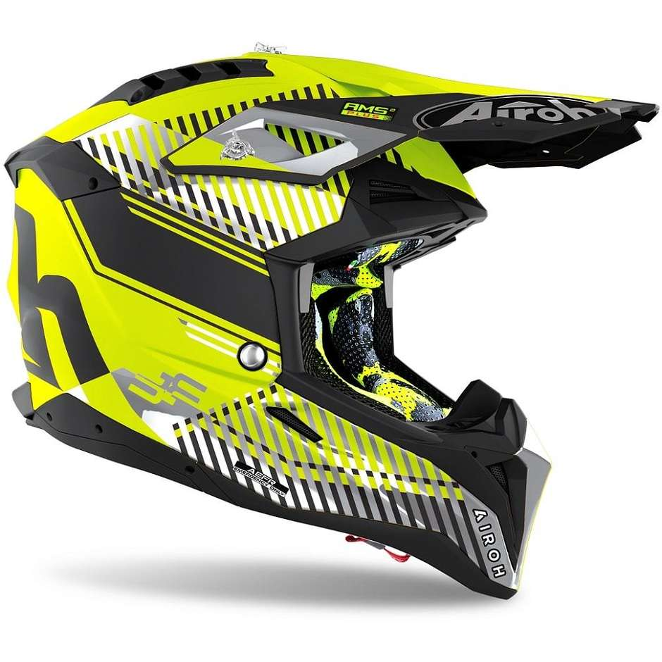 Casque Moto Cross Enduro En HPC Airoh Fibre AVIATOR 3 Wave Jaune Mat