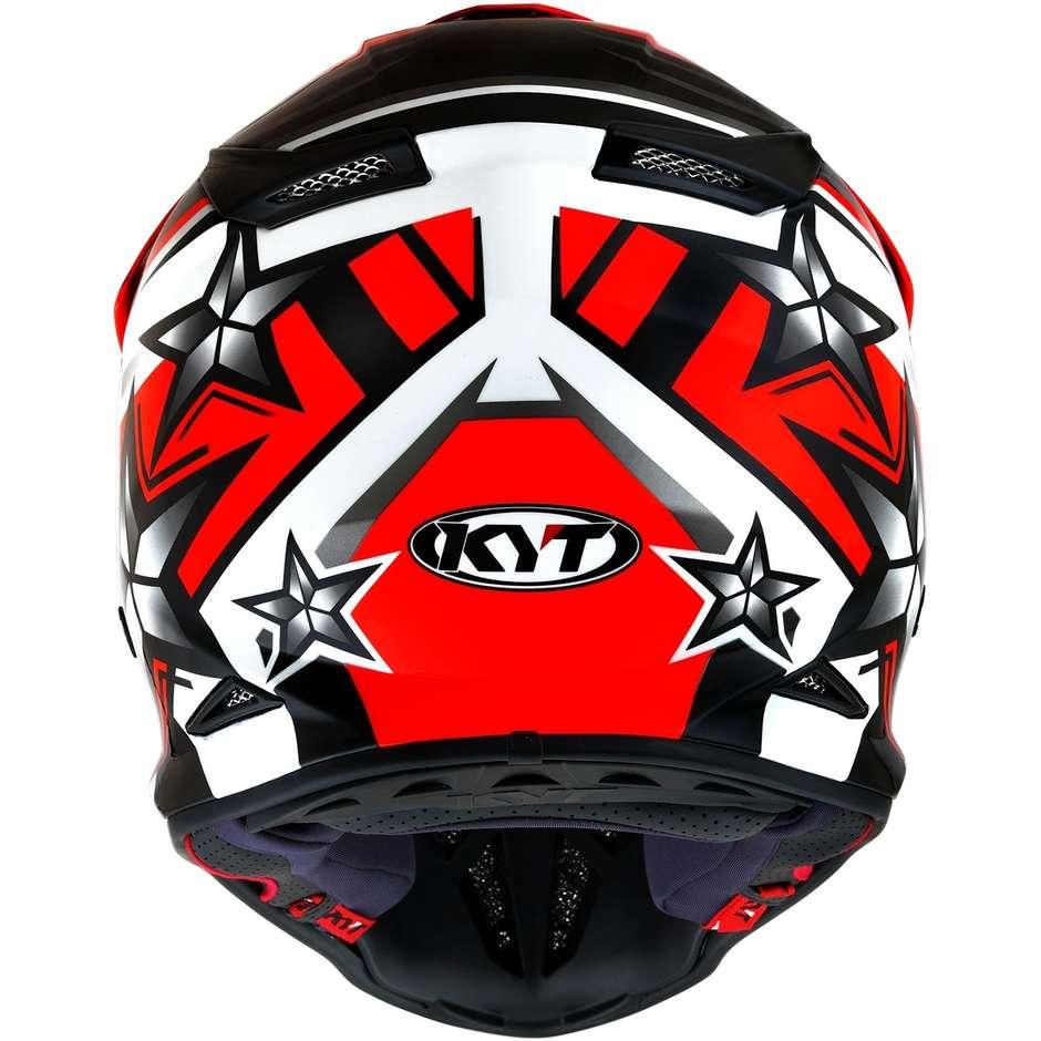 Casque Moto Cross Enduro en KYT SKYHAWK ARDOR Rouge Fluo Fibre
