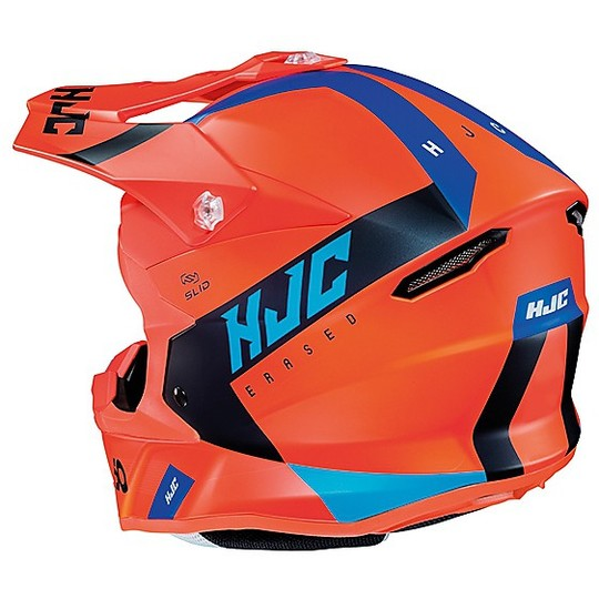 Casque Moto Cross Enduro HJC i50 ERASED MC6HSF Orange Mat Bleu