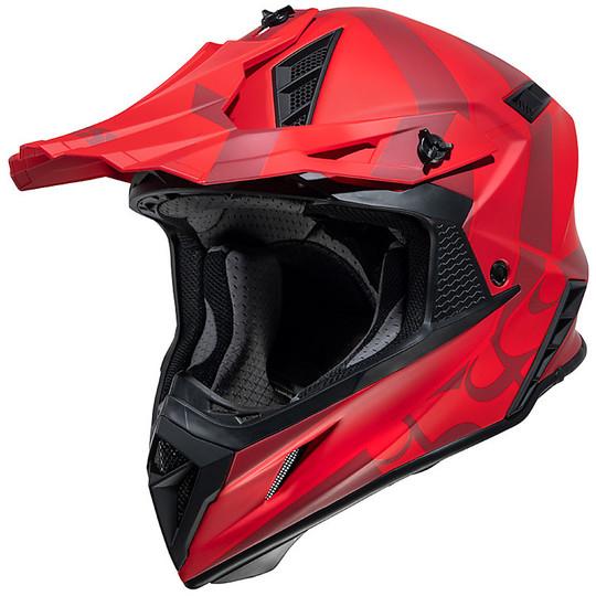 Casque Moto Cross Enduro Ixs 189 2.0 Rouge Fibre Mat