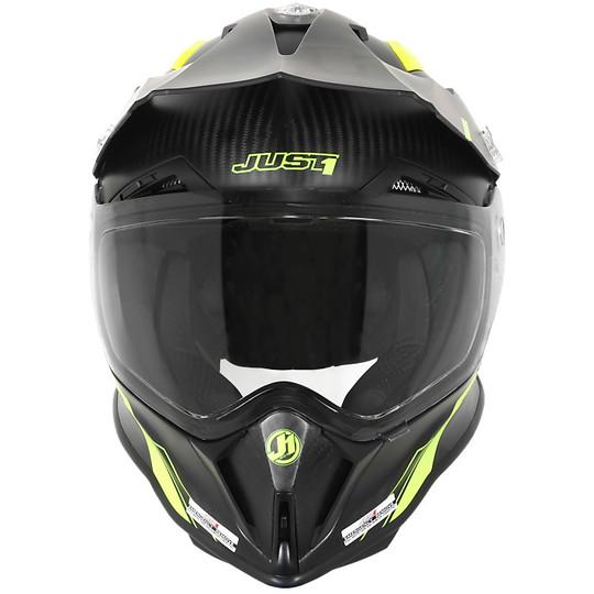 Casque Moto Cross Enduro Just 1 J14 Adventure Full Carbon Line Matt Fluo Yellow