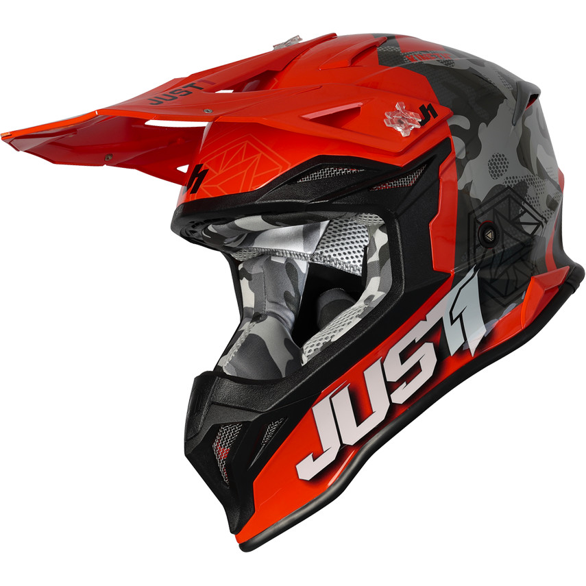 Casque Moto Cross Enduro Just1 J39 KINETIC Camo Gris Rouge Fluo Orange
