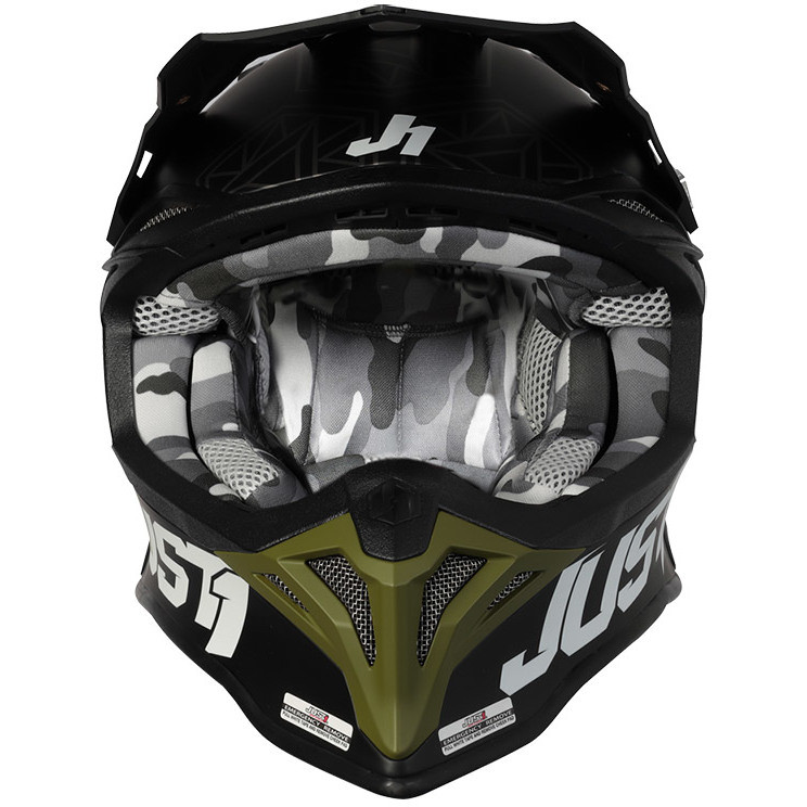 Casque Moto Cross Enduro Just1 J39 KINETIC Camo Vert Militaire Noir Mat