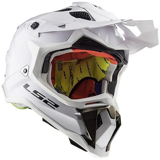 Casque Moto Cross Enduro LS2 MX 470 Subverter Solid Glossy White