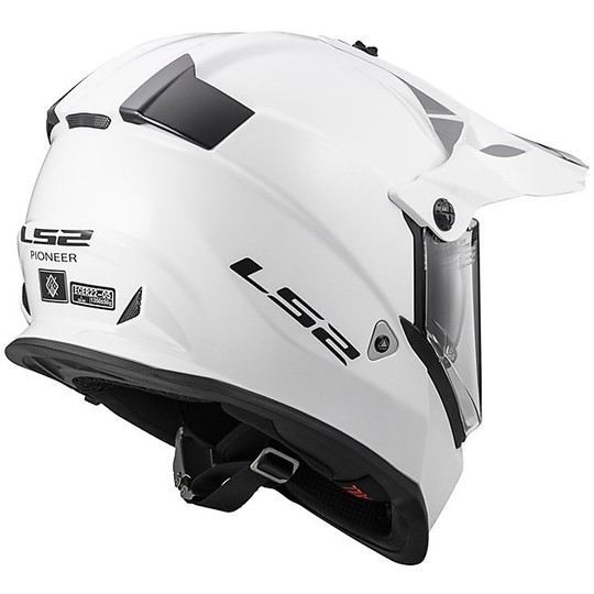 Casque Moto Cross Enduro LS2 MX436 Pioneer Mono Glossy White