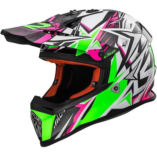 Casque Moto Cross Enduro LS2 MX437 Fast Strong Blanc vert