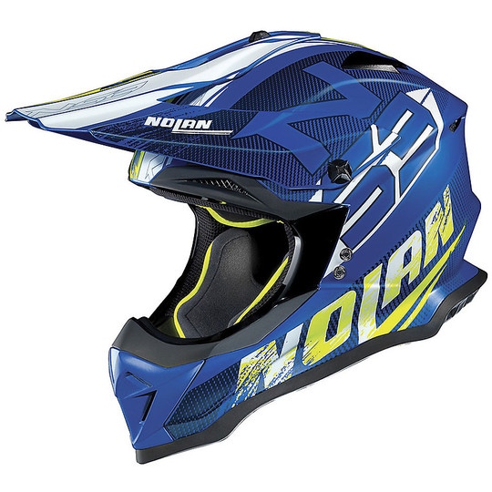 Casque Moto Cross Enduro Nolan N53 Whoop 048 Denim Matt Blue