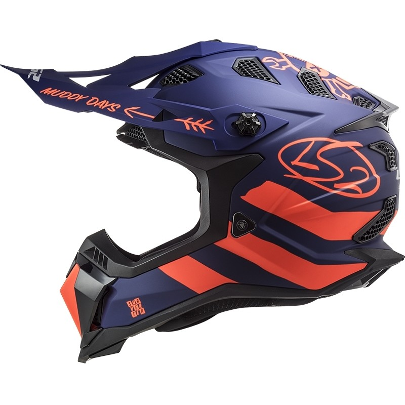 Casque Moto Cross Enduro Off Road Ls2 MX700 Subverter Evo CARGO Bleu Orange Fluo Matt