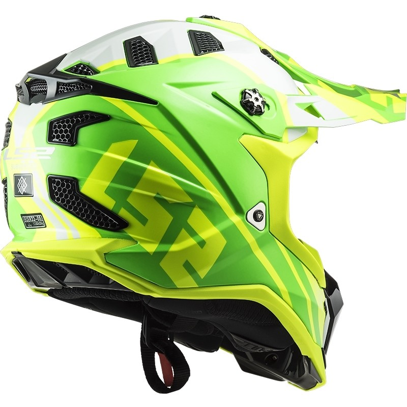 Casque Moto Cross Enduro Off Road Ls2 MX700 Subverter Evo GAMMAX Jaune Fluo Vert