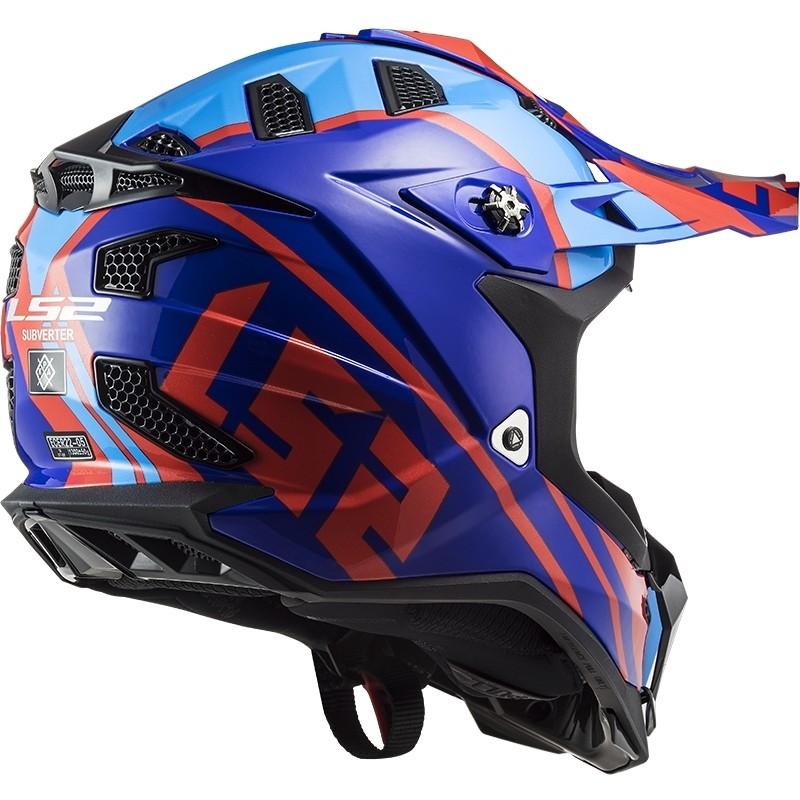 Casque Moto Cross Enduro Off Road Ls2 MX700 Subverter Evo GAMMAX Rouge Bleu