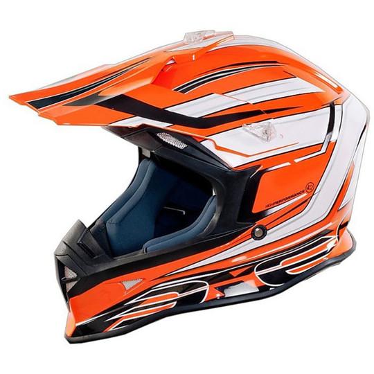 Casque Moto Cross Enduro One Racing Tiger Orange-Blanc Nouveau