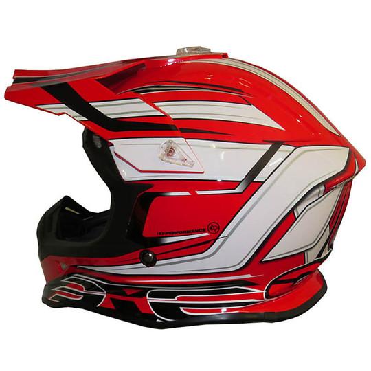 Casque Moto Cross Enduro One Racing Tiger Rouge-Blanc Nouveau
