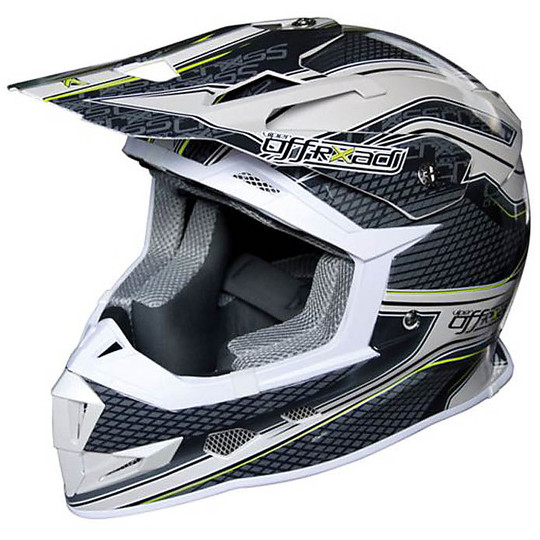 Casque Moto Cross Enduro One Racing Viper Blanc Gris