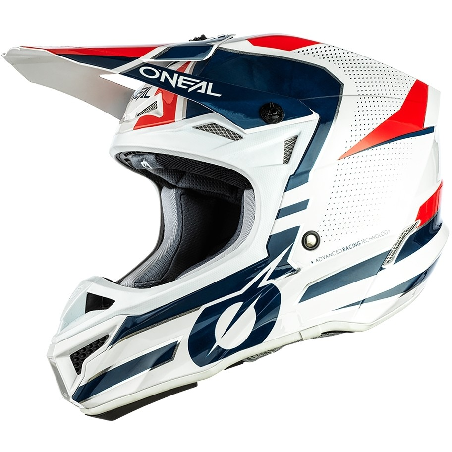 Casque Moto Cross Enduro Oneal 5Srs Polyacrylite Helmetleek Blanc Bleu Rouge