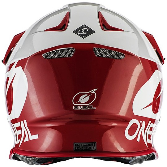 Casque Moto Cross Enduro O'neal 8 Series 2T Rouge Blanc