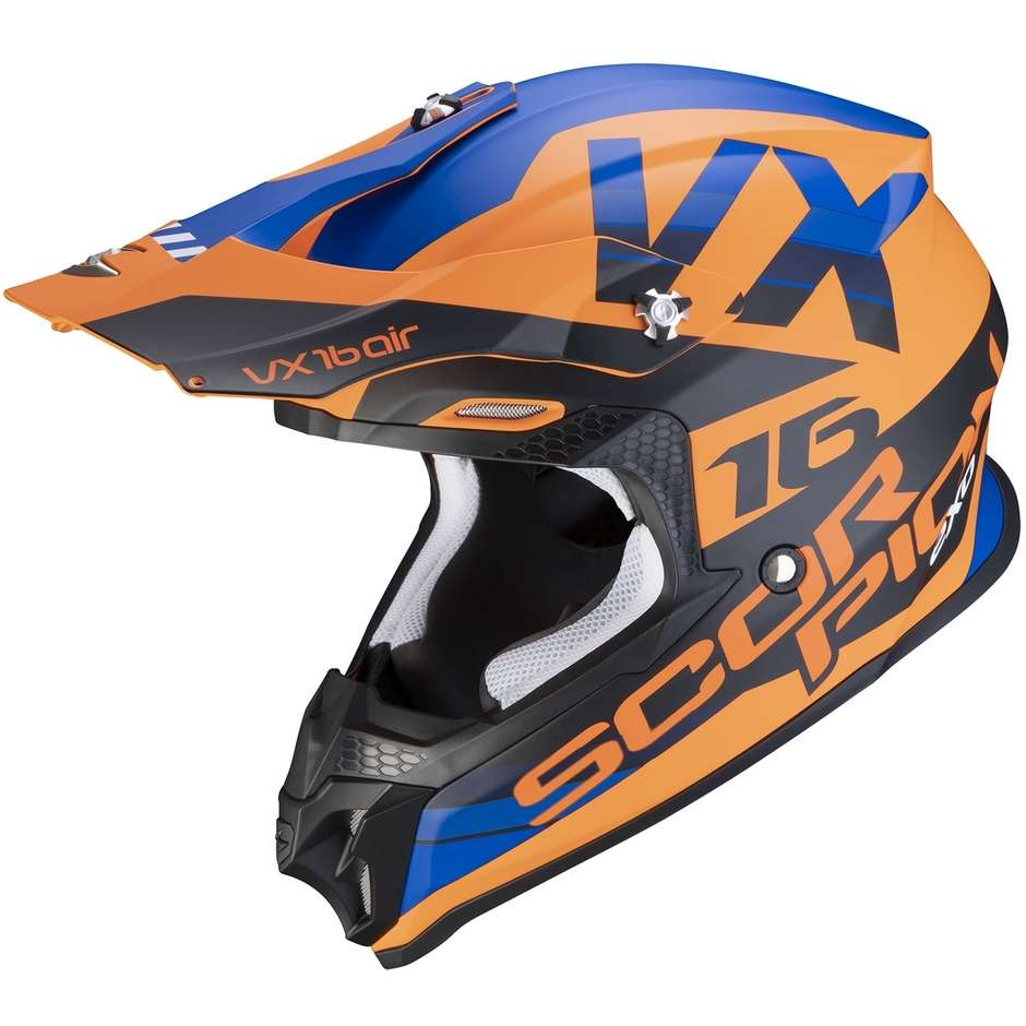 Casque Moto Cross Enduro Scorpion VX-16 AIR X-TURN Orange Bleu Opaque