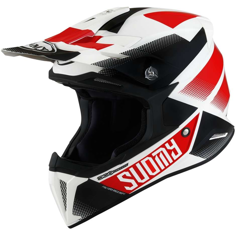 Casque Moto Cross Enduro Suomy X-WING GRIP Blanc Rouge