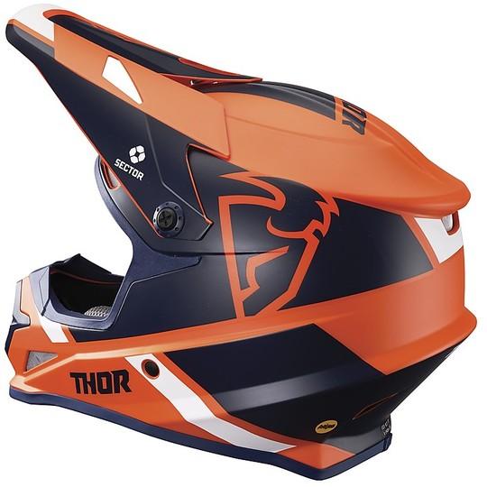 Casque Moto Cross Enduro Thor Sector MIPS S20 Split Navy Blue Orange