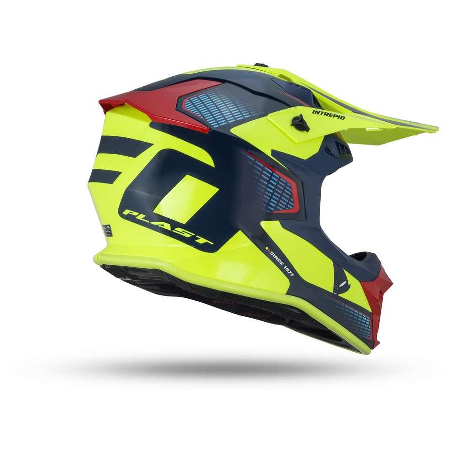 Casque Moto Cross Enduro UFO Intrepid Bleu Rouge Jaune Fluo